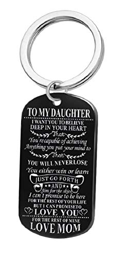 AM Landen Black Plate To My Daughter from Mom Personalized Stainless Steel Engraved Photo Dog Tag Key-chain