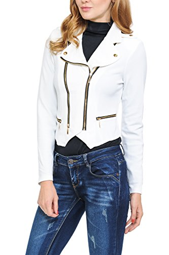 Keebon Womens Modern Casual Asymmetrical Long Sleeve Zip Up Moto Jacket White Small Studded Pocket Dress