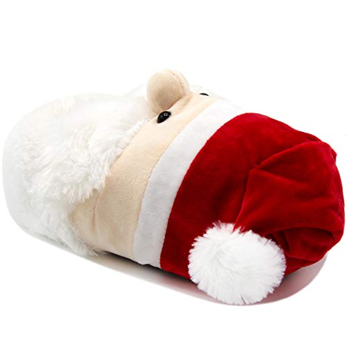 Ugly Christmas Slippers Womens Cozy Furry Slip On Slipper Plush Step-in Santa Head Red Medium (7-8)