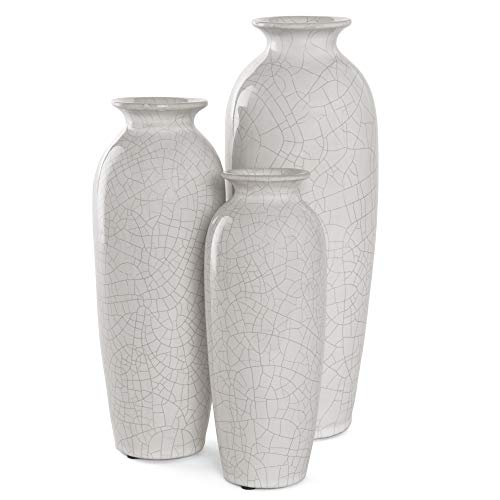 Best Choice Products Set of 3 Decorative Modern Ceramic Table Vases Home Accents for Flowers, Dining, Side Tables w/Assorted Sizes - White