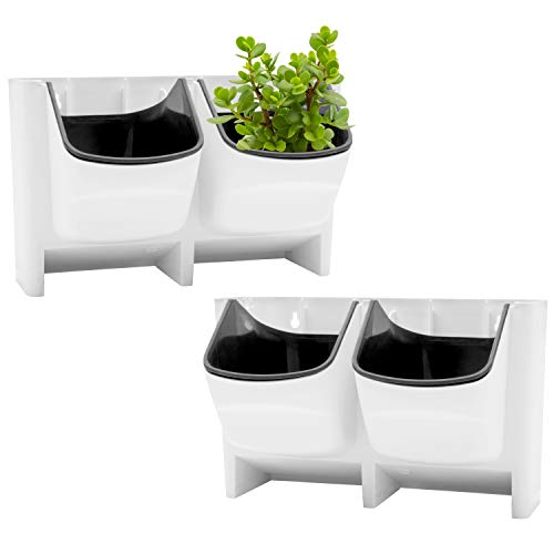 MyGift Set of 2 Vertical Wall Planter for Indoor Outdoor Herb Vegetable Flower Garden Plastic Pot, White by MyGift