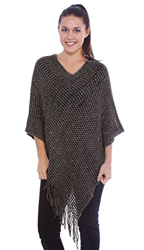 EPGM Pullover Sweater Women's Knitted Sequin Poncho Cape Shawl w/Tassel Hem,Charcoal