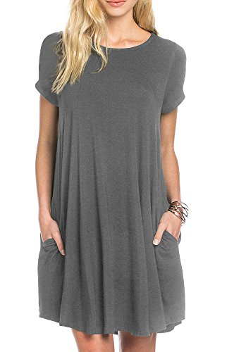 TINYHI Women's Swing Loose Short Sleeve Tshirt Fit Comfy Casual Flowy Tunic Dress Gray, Medium