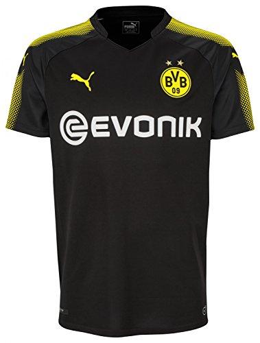 PUMA Men's BVB Away Replica Shirt with Sponsor Logo, Black/Cyber Yellow, X-Large