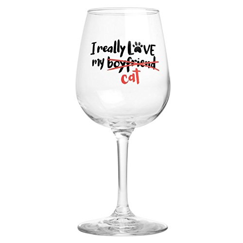 I Really Love My Cat Cute Wine Glass Gift