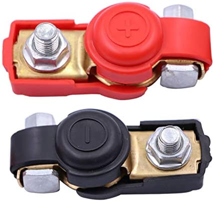 Buwico 1 Pair Battery Terminals,Car Battery Cable Terminal Clamps Connectors,Negative and Positive,Copper,Plastice Cover,Good Contact,Corrosion Resistance for Car,Van and More