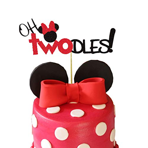 Minnie Mouse Second Birthday Cake Topper,Oh Two Dles Birthday Party Supplies Decorations For Girl(Red)]()