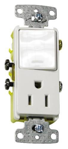 Single Rocker Combo (Hubbell Wiring Systems RCD108I tradeSELECT Single Pole Combination Quiet Rocker Switch with 2 Pole Wire Receptacle, 15A, 120V, Ivory)
