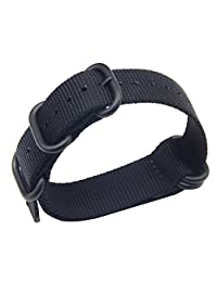 23mm Black Luxury Exquisite Men's one-piece NATO style Nylon Perlon Watch Bands Straps Textile