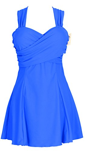 Claire Stool (Women's Elegant Crossover One Piece Swimdress Skirted Bottom Swimsuit (FBA), US 12-14, Sapphire Blue, tag size 3XL)