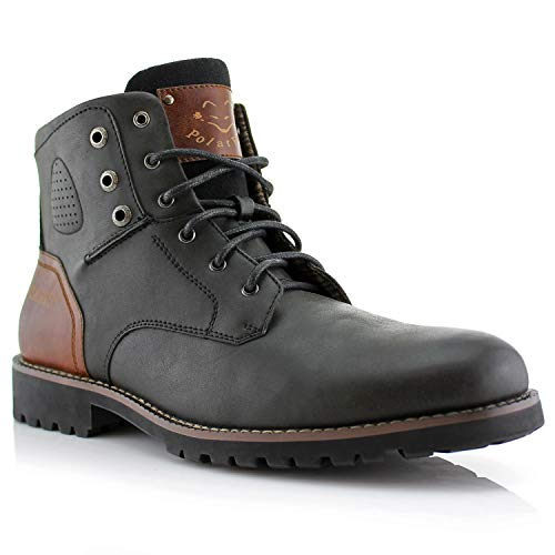 Polar Fox Homer MPX806036 Mens Casual Work Lace Up Classic Motorcycle Combat Boots - Black, Size 9.5