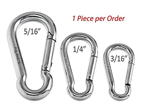 RamPro 1Pc Spring Snap Hook Carabiner Stainless Steel Clip Keychain - 3/16 to 5/16-inch, Grade 316 SS (Stainless Steel Snap Ring)