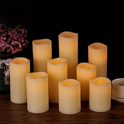 "Flameless Candles Battery Operated Candles 3.0""x 4"" 5"" 6"" 7"" 8"" 9"" Set of 9 Ivory Real Wax Pillar LED Candles with 10-key Remote and Cycling 24 Hours Timer"