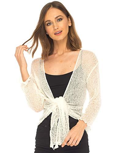 SHU-SHI Womens Sheer Shrug Tie Top Cardigan Lightweight Knit,Off White,One Size