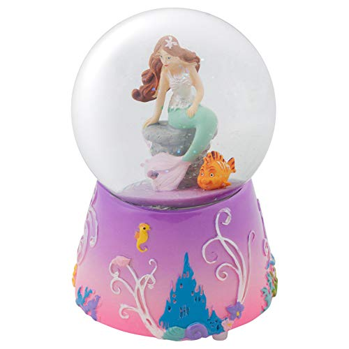 Elanze Designs Mermaid and Fish on Lilac Musical 80MM Water Globe Plays Tune by The Beautiful Sea (Snow Globe Sea)