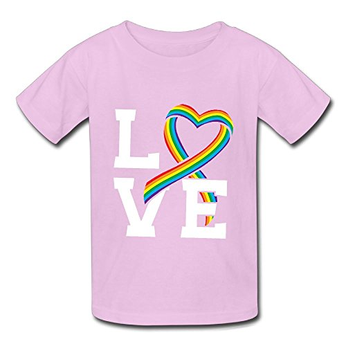 (Oyavdsznq Kid Love Rainbow Ribbon Casual Style Jogging Pink Shirt L Short Sleeve)