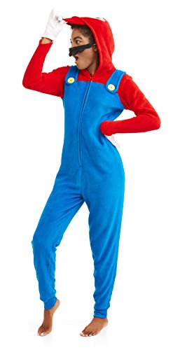 Super Mario Women's Faux Fur Licensed Sleepwear Adult Costume Union Suit Pajama (M, Mario) -
