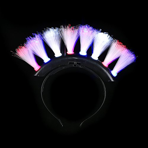 Fun Central T052 LED Fiber Optic Mohawk - Red-White-Blue