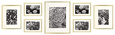 Golden State Art, Metal Wall Photo Frame Collection, Set of 7, Aluminum Photo Frame with Ivory Color Mat & Real Glass
