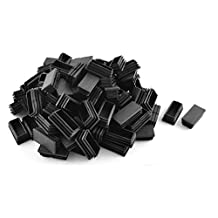 DealMux Plastic Rectangle Blanking End Cap Tubing Tube Inserts 25mm x 50mm 100 Pcs Black