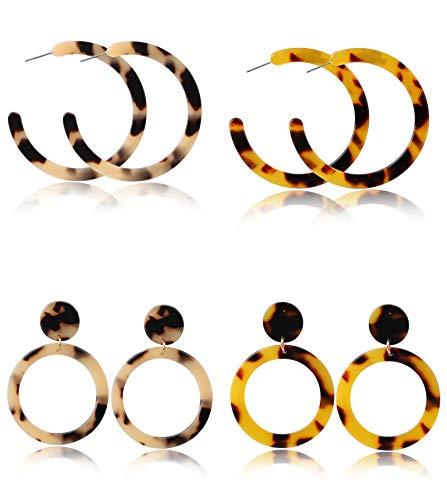 Finrezio 4 Pairs Mottled Acrylic Earrings for Women Bohemian Resin Stud Earrings Statement Drop Dangle Earrings Fashion Jewelry