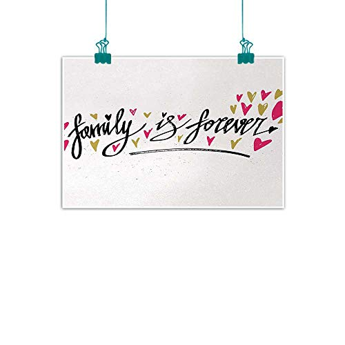 Unpremoon Family,Wall Art Pictures Frameless Inspirational Phrase Family is Forever Hand Writing Cute Hearts W 24
