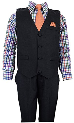 Vittorino Boys 4 Piece Suit Set with Vest Shirt Tie Pants and Hankerchief,12,Black Vest--multicolor Shirt--orange Tie Dress Vest Pants
