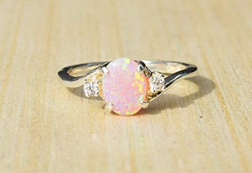 Tomikko 2.3Ct Pink Fire Opal Women 925 Silver Ring Gemstone Engagement Wedding Size 5-11 | Model RNG - 13184 | 9 (Inspired Bridle)