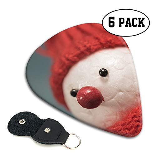 Christmas Funny Handicraft Pattern Scarf Snow Man Ultra Thin 0.46 Med 0.71 Thick 0.96mm 4 Pieces Each Base Prime Celluloid Ivory Jazz Mandolin Bass Ukelele Plectrum Guitar Pick Pouch -