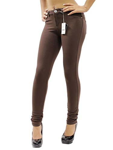 - JW Maxx Jeans Juniors Skinny Jeggings Stretch Cotton Casual Pants (Dark Brown, Medium)
