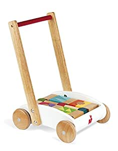Janod - Mini Buggy I Wood, carretilla con cubos multiformas (J05584)