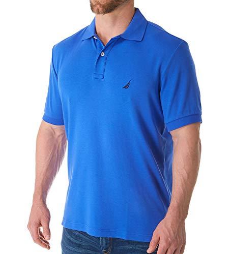Nautica Men's Short Sleeve Solid Interlock Polo Cobalt Wave Large ()