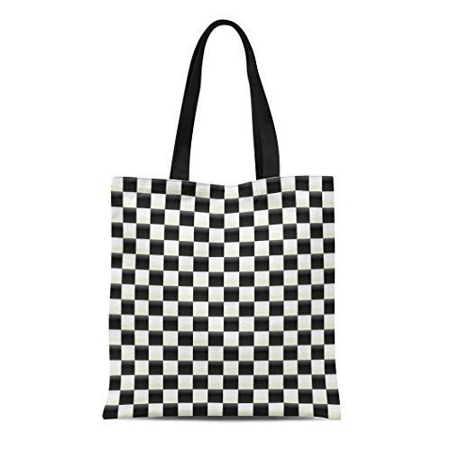 Mosaic Flooring Canvas - Semtomn Canvas Tote Bag Shoulder Bags Pattern Black Checker Illuminated Checkered White Flag Chequered Floor Women's Handle Shoulder Tote Shopper Handbag