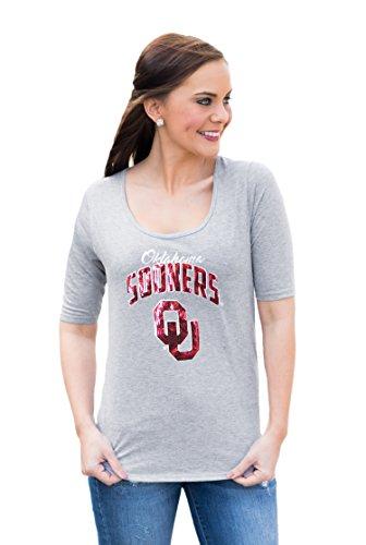 NCAA Oklahoma Sooners Women's Half Sleeve tee with logo, Medium, Gray - Oklahoma Ladies T-shirt