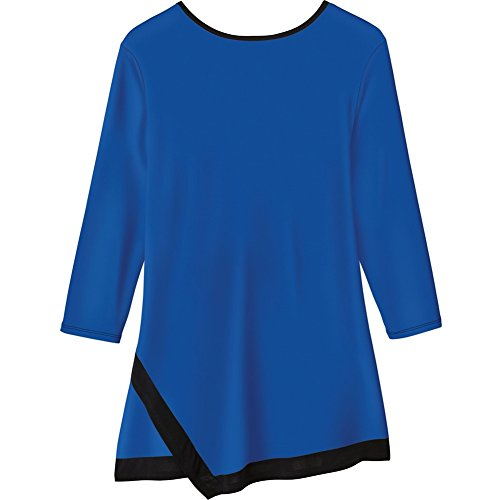 Women's Tunic Top - Emboldened Border 3/4 Length Shirt - Cobalt - 2X