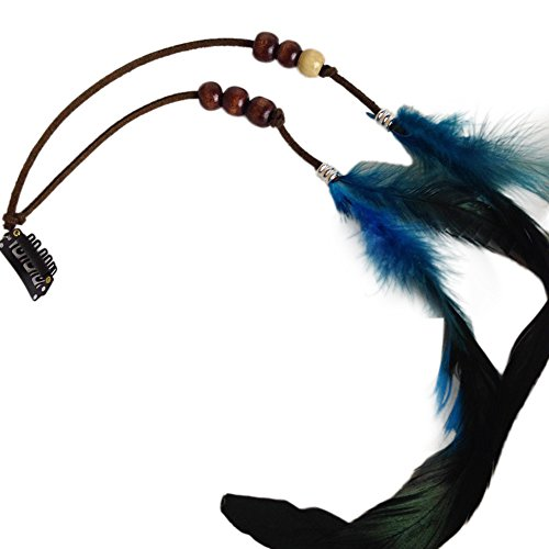 BAOBAO Handmade Boho Women Feather Tassel Hair Comb Clip Extension Tribal Costume