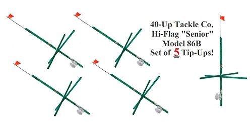 40-Up Tackle Hi-Flag ''Senior'' Tip Up Model 86B Kit of 5 -USA MADE-