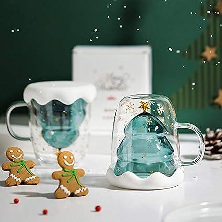 taza interior de estrella de /árbol de Navidad de vidrio de doble capa Taza resistente al calor con tapa de vidrio para infundir caf/é t/é leche etc. LMTXXS Taza de t/é aislante