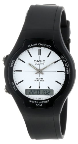 Time Mens White Dial (Casio Men's AW90H-7E Sport Multi-Function White Dial Dual Time Watch)