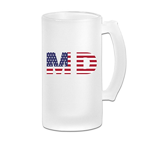 Md State Of Maryland Flag 16OZ Frosted Glass Beer Mug Novelty Glass Beer Mug White -