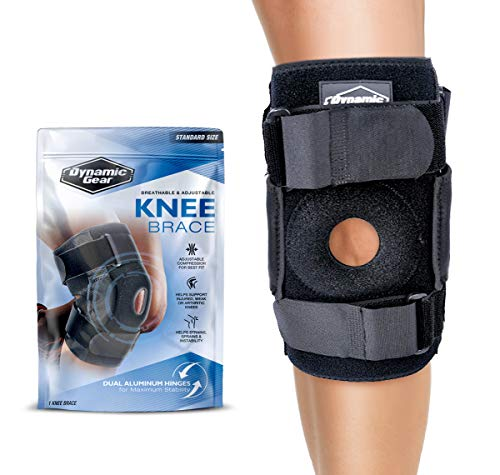 45ecfd7cd5 Dynamic Gear Open Patella Stabilizing Knee Brace with Dual Aluminum  Stability Hinges - Padded Neoprene Adjustable Compression Knee Support Brace  for ...