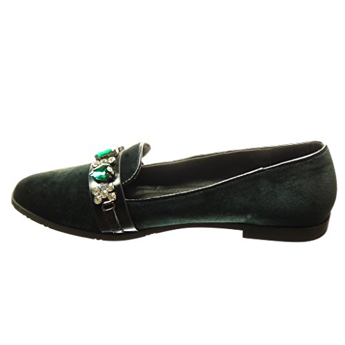 Angkorly Women's Fashion Shoes Mocassins - Slip-on - Jewelry Block Heel 1.5 cm cm Green A6EgqvI