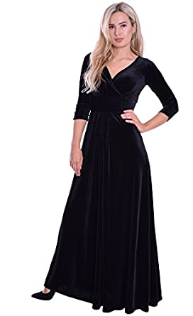 Long Elegant Evening Dress Wedding Dance Concert Black Velvet by ...