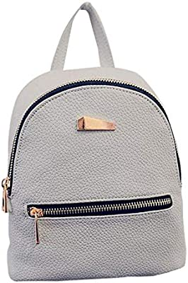 Amazon.com: Small Backpack Leather Zipper Rucksacks for ...