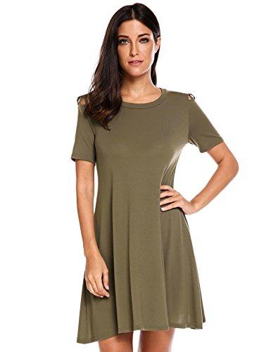 Zeagoo WomenS Casual Plain Simple Swing Tunic Short Sleeve Loose T-Shirt Dress,Army Green,Small