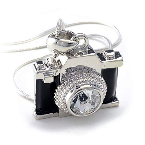 PammyJ Silvertone Miniature Camera Pendant Photography Crystal Necklace, - Camera Pendant Necklace