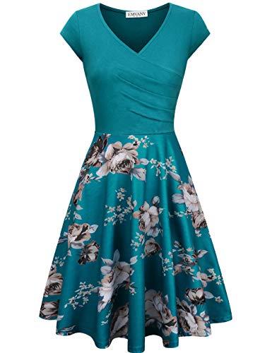 EMVANV Elegant Dresses, Womens Casual Dress A Line Cap Sleeve V Neck Blue