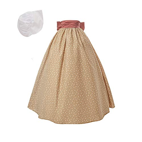 NSPSTT Women Pioneer Colonial Skirt Girls Peasant Prairie Skirt Civil War Trek Floral Costume Khaki ()