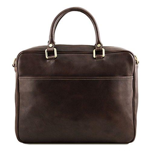 Tuscany Leather Pisa Notebook-Aktentasche aus Leder mit Vorderfach Braun Dunkelbraun HgHUGjk