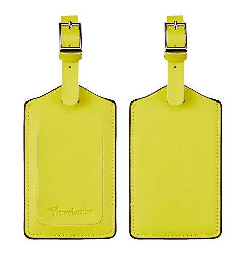 Travelambo Genuine Leather Luggage Bag Tags (Yellow 3115 Light Yellow)